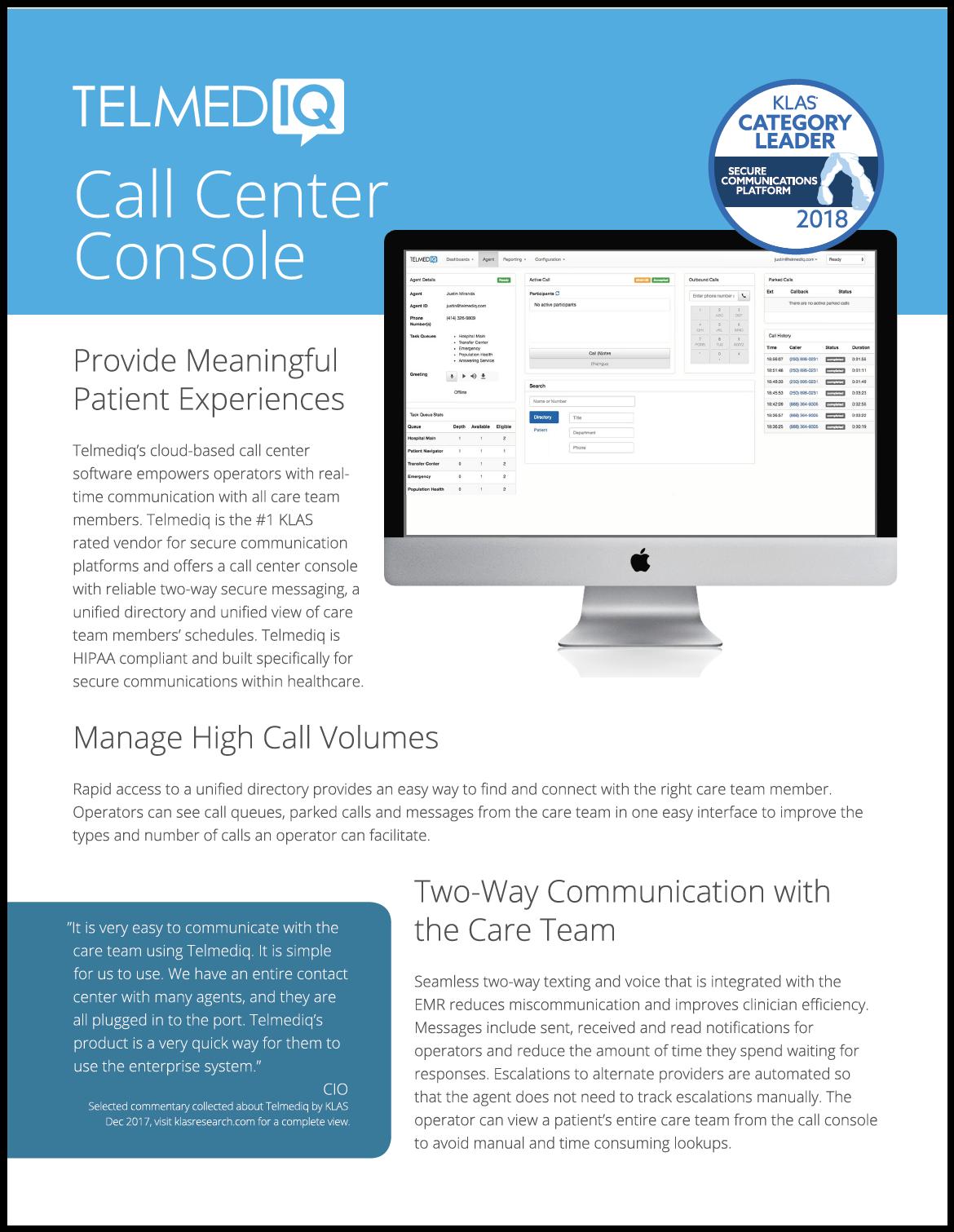 Call Center Sell Sheet
